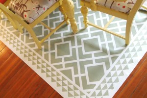 DIY Dining Room Area Rug {Painted Linoleum!}