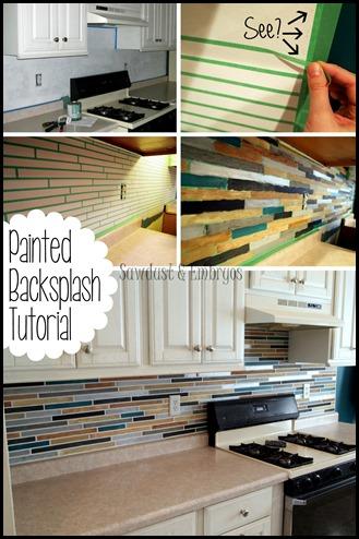 PAINT your backsplash to look like custom tile! {Sawdust & Embryos}