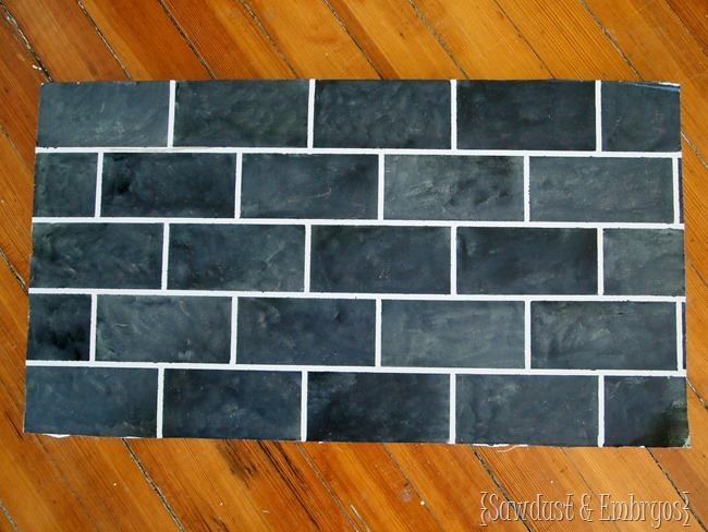 PAINTED faux slate subway tile {Sawdust and Embryos}