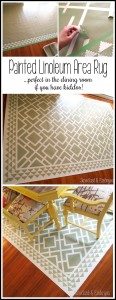 Paint a pattern onto a linoleum remnant to make a custom (and cheap!) area rug for the dining room! This is a MUST if you have little messy eaters!!