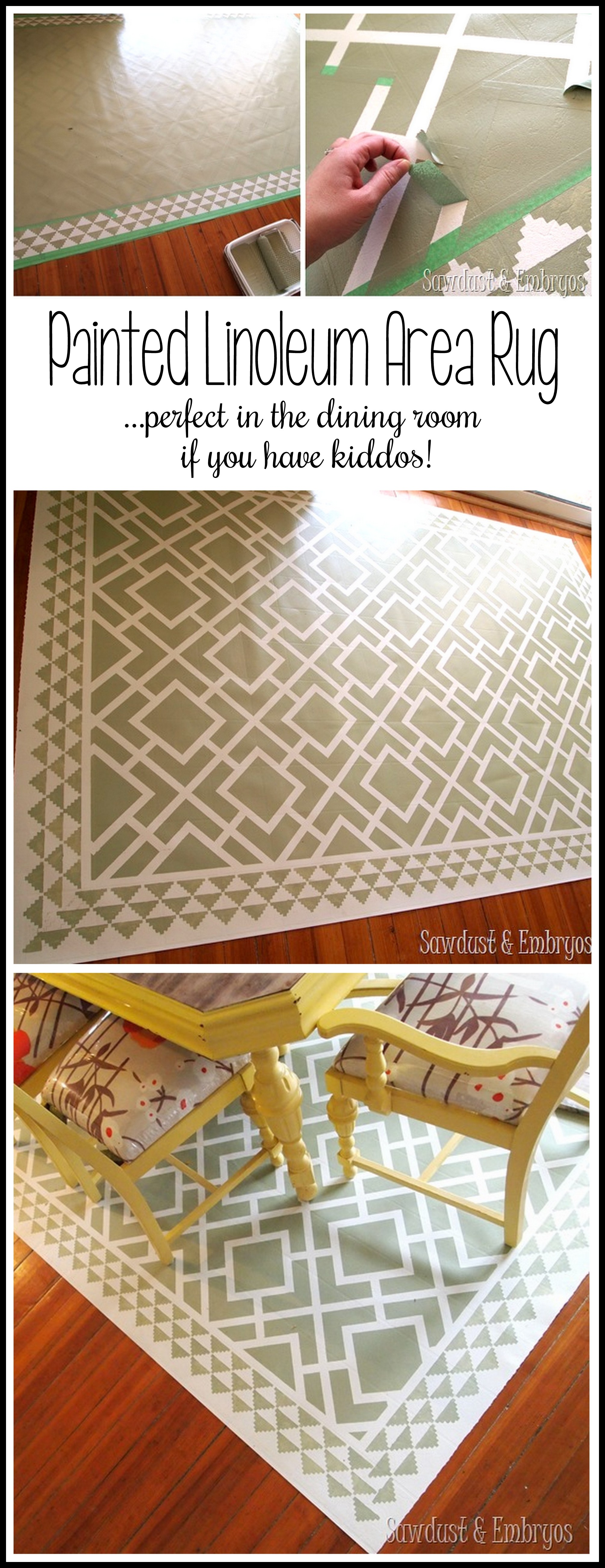 diy dining room area rug {painted linoleum!} - reality daydream