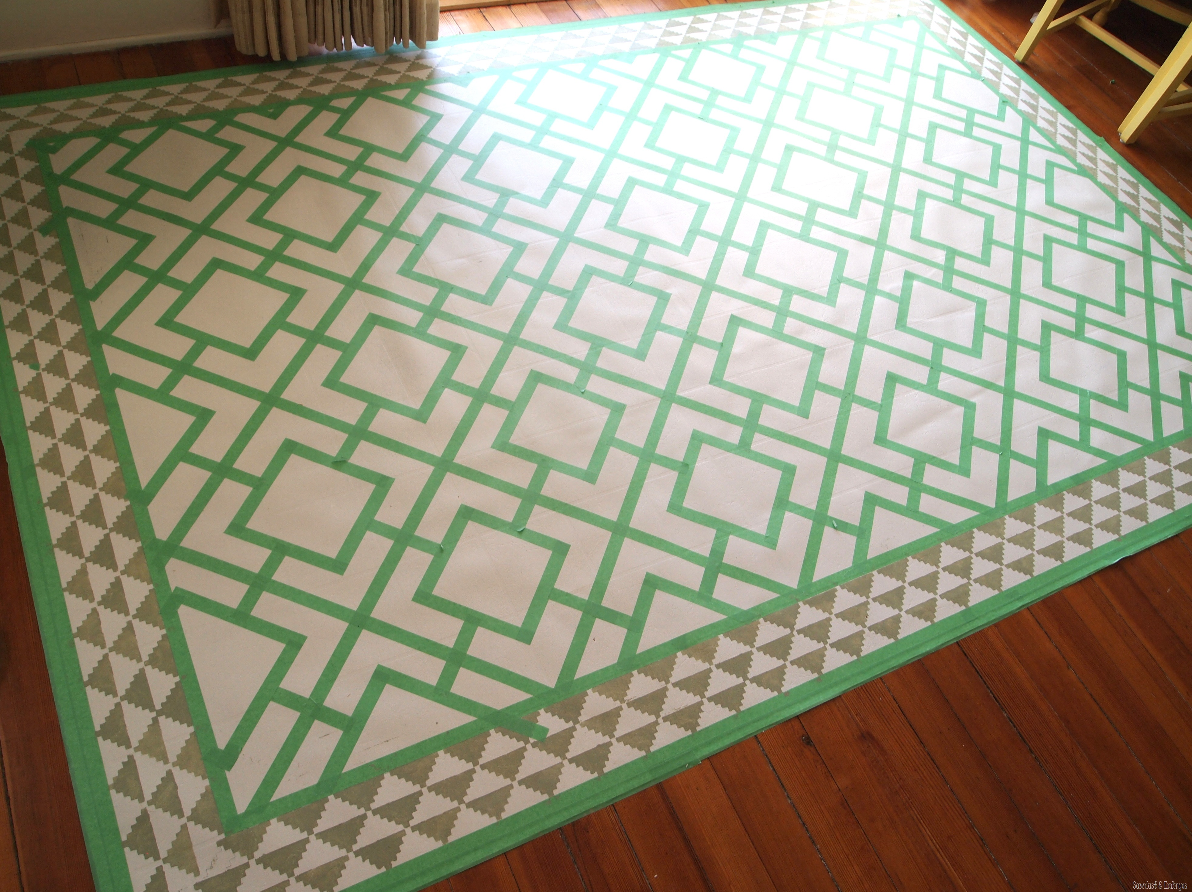 paint a remnant of linoleum to look like a legit area rug for under your dining - Dining Table Floor Mat