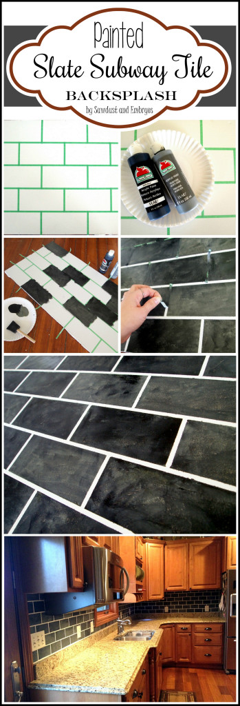 Paint your backsplash to look like slate subway tiles!