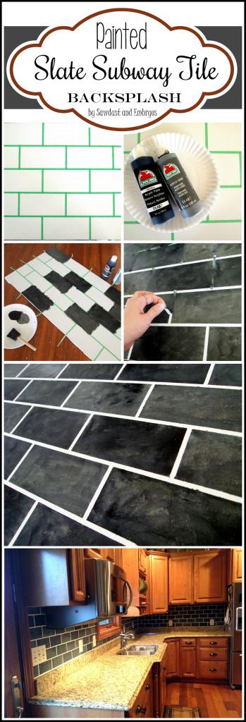 Paint your backsplash to look like slate subway tiles!