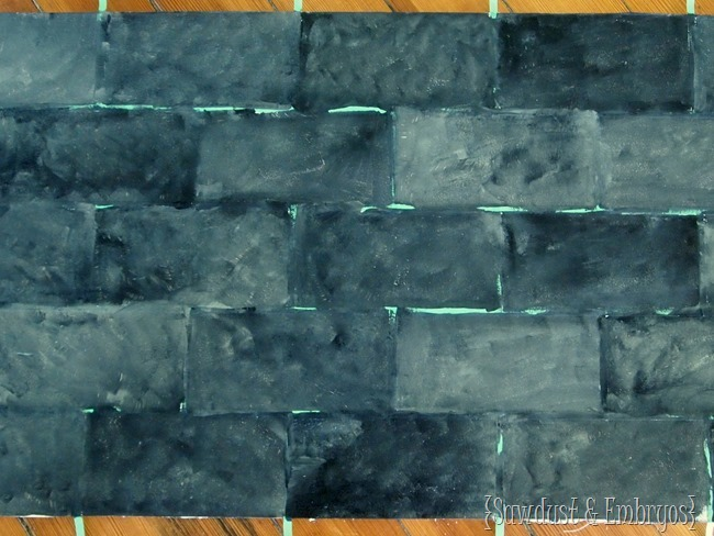 Paint your backsplash to look like slate subway tiles! {Sawdust and Embryos}