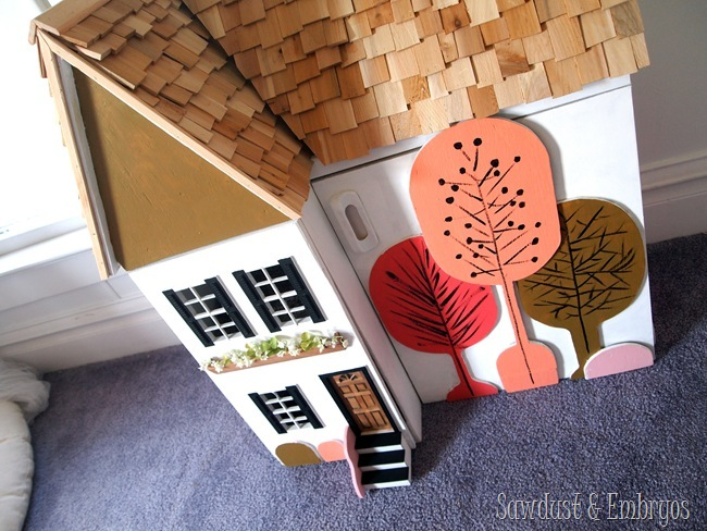 Painted and customized dollhouse by Sawdust and Embryos