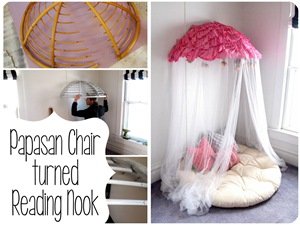 Papasan Chair turned into Dreamy Reading-Nook Canopy for kids room! (Sawdust & Embryos)