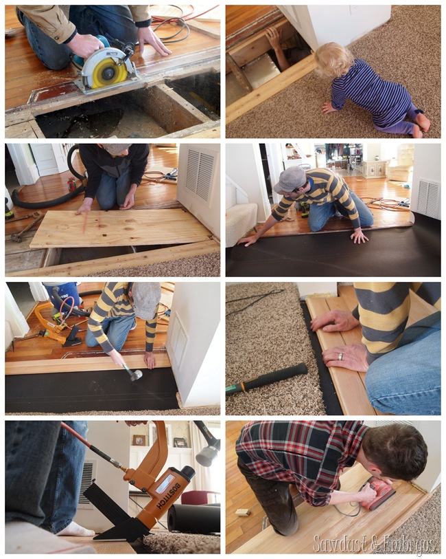 Replacing floorboards {Sawdust and Embryos}