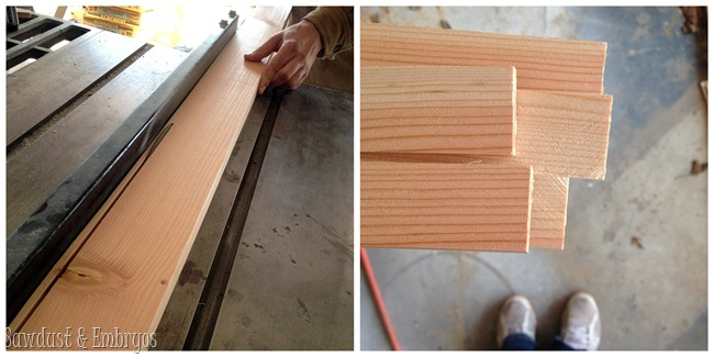 Rip down 2x4 to make outdoor wall decor {Sawdust and Embryos}