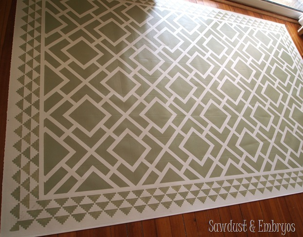 This Is A Remnant Of Linoleum That Was PAINTED To Look Like An Area Rug For