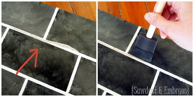 Touching up your PAINTED backsplash! {Sawdust and Embryos}