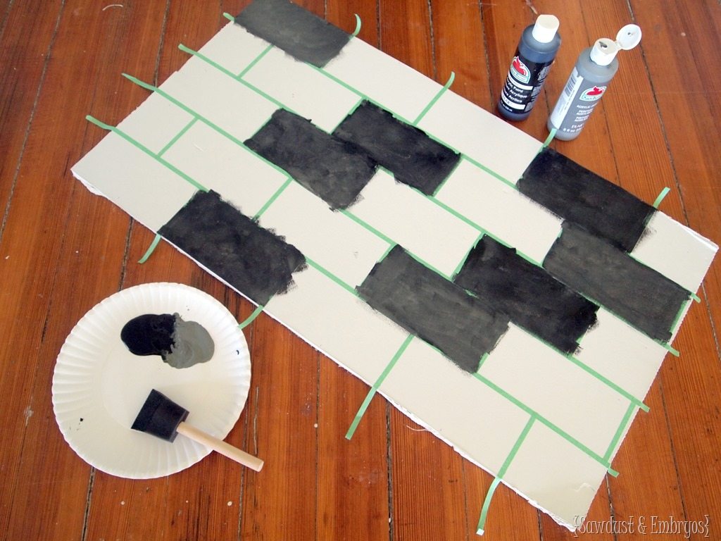 Painted backsplash slate subway tiles tutorial on how to paint a faux subway tile backsplash sawdust and embryos dailygadgetfo Choice Image