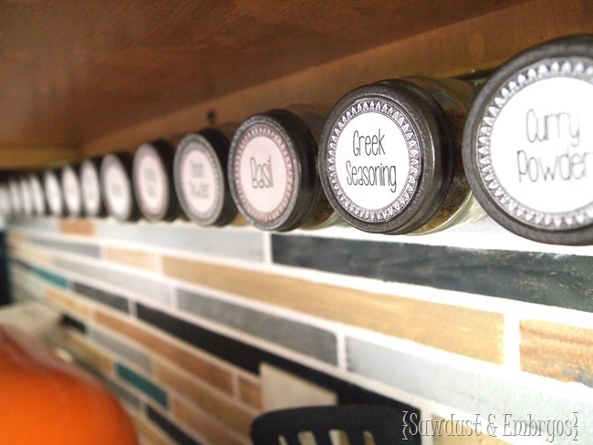 Affix spice jars under your cabinets for easy access! {Sawdust and Embryos}