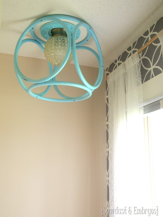 Modern Geometric Chandelier using an old bamboo end table! {Sawdust and Embryos}