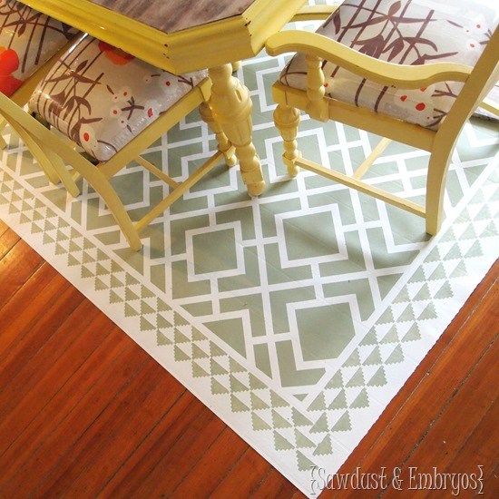 PAINT a remnant of linoleum to look like an area rug for under your dining table! {Sawdust and Embryos}