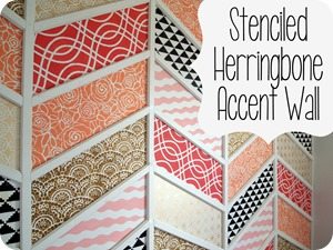 Stenciled Herringbone Accent Wall