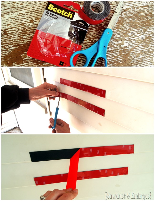 Using Scotch 3M Mounting Strips to affix a mailbox to the side of the house {Sawdust and Embryos}