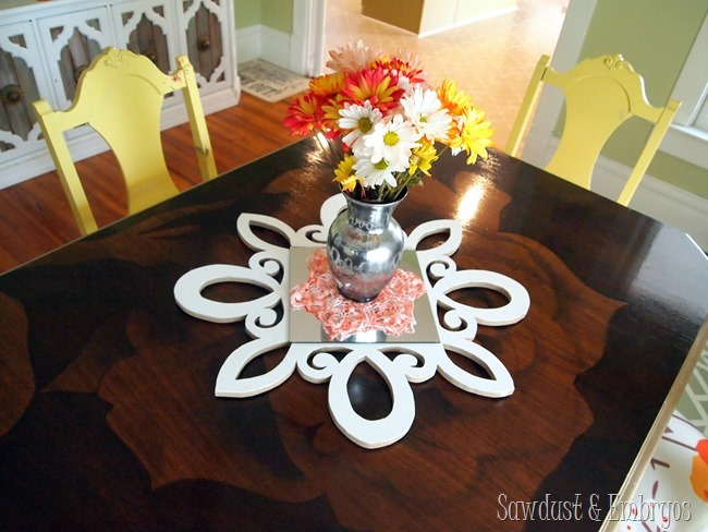DIY Scalloped Scrolly Mirror... can be used as a centerpiece or a starburst mirror! {Sawdust and Embryos}