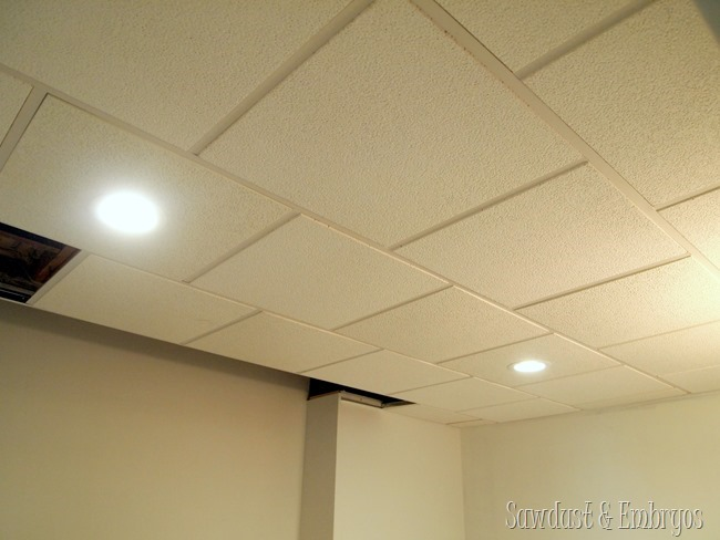 Drop ceiling with can lights in the laundry room {Sawdust and Embryos}