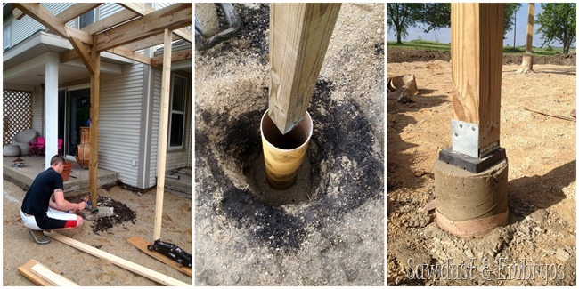 Installing a patio and re-pouring supports for pergola {Sawdust and Embryos}
