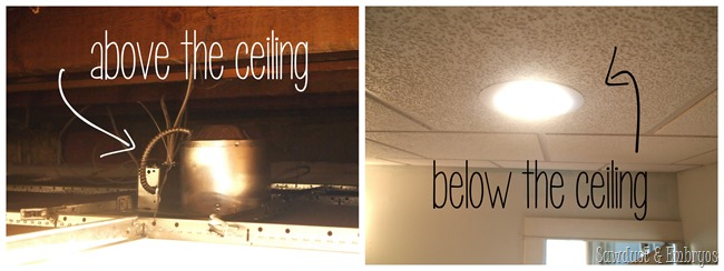 Installing can lights in a drop ceiling {Sawdust and Embryos}