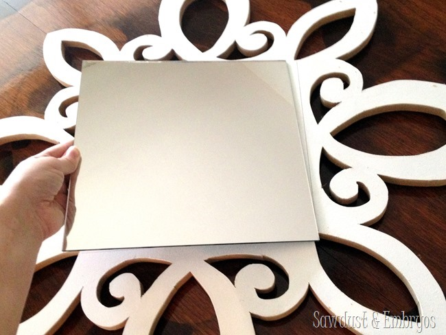 Make your own scalloped decorative mirror! {Sawdust and Embryos}