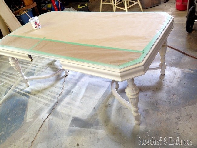 Painting and refinishing your antique dining table {Sawdust and Embryos}