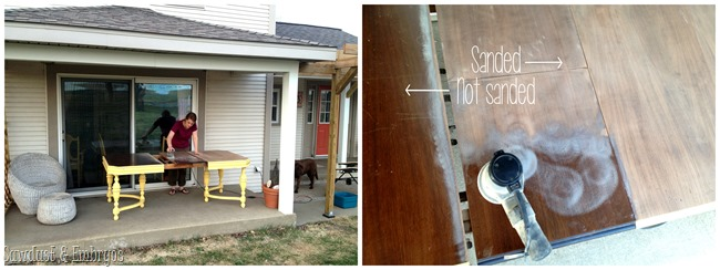 Refinishing a dining table and shading with stain {Sawdust and Embryos}