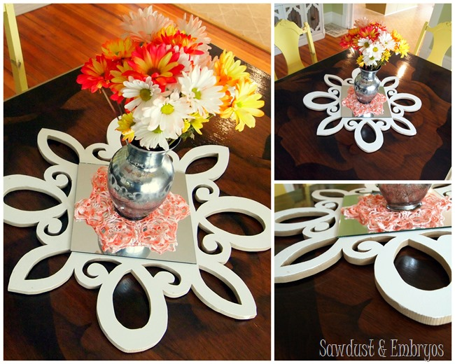 Scrolly Scallopy Starburst-esque Mirror used as part of a centerpiece! Click through for the full tutorial! {Sawdust and Embryos}