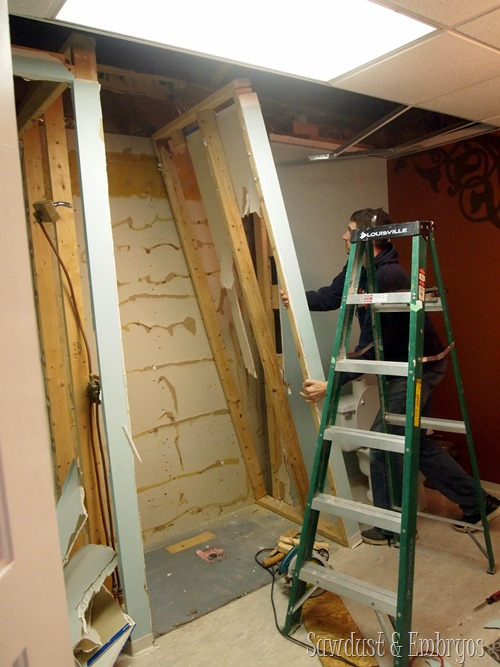 Tearing out a stand-up shower to make room for a washer and dryer! {Sawdust and Embryos}