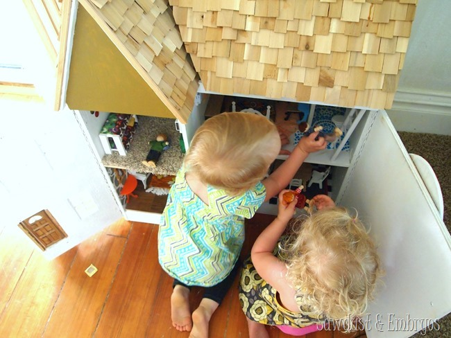 The girls and their DIY Dollhouse {Sawdust and Embryos}.JPG