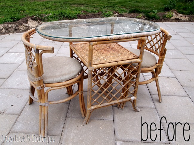 Bamboo Patio Set Transformation BEFORE pic {Sawdust and Embryos}