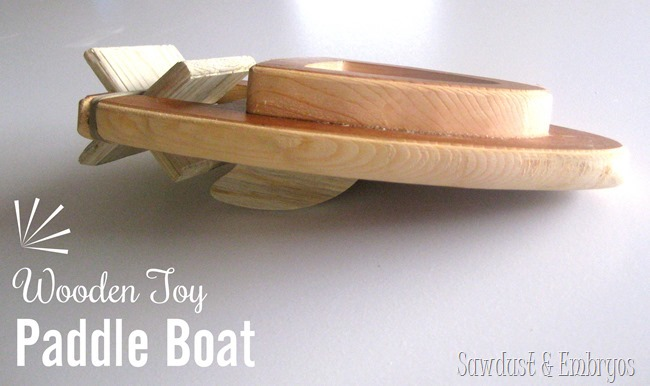 Build a simple Wooden Toy Paddle Boat that's powered by rubberbands! {Sawdust and Embryos}