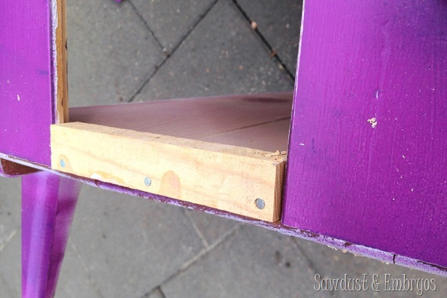 Cut a hole in a dresser to make a place for a litter box inside! {Sawdust and Embryos}