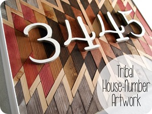DIY Native American wooden artwork used as house number sign!
