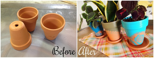 Doily-stenciled terra cotta pots {Sawdust and Embryos}