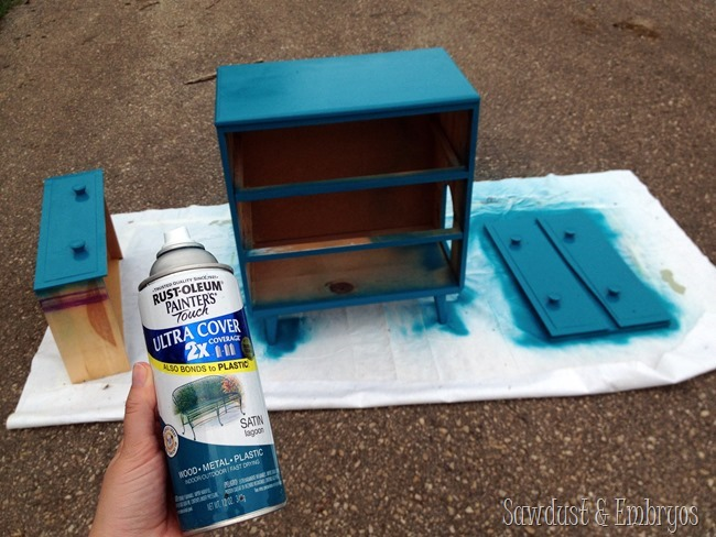 Dresser turned into disguised litter box {Sawdust and Embryos}