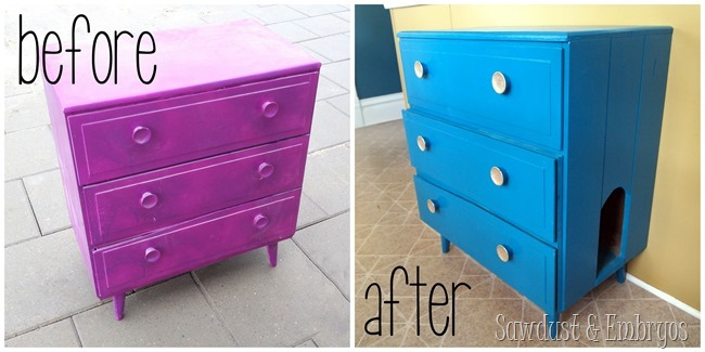 Little dresser turned into LITTER Dresser! {Sawdust and Embryos}