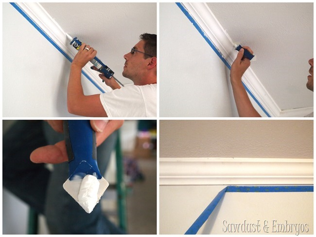 Caulking crown moulding {Sawdust and Embryos}
