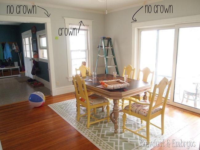 Crown trim above doorways and windows {Sawdust and Embryos}.JPG