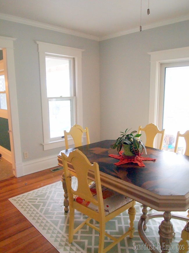Dining room with new wall color and added trim {Sawdust and Embryos}