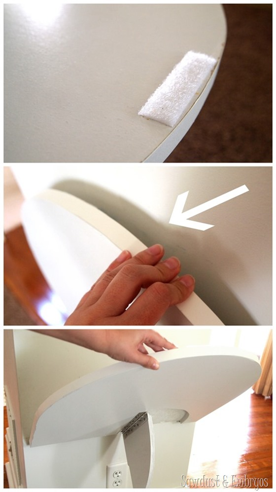 Keep Murphy Table upright with a strip of 3M Indoor Fasteners (similar to Velcro) by Sawdust & Embryos