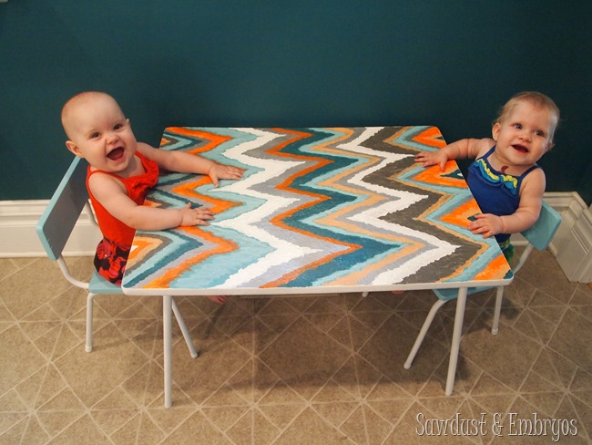 Paisley and Adelyn's Chevron Table {Sawdust and Embryos}