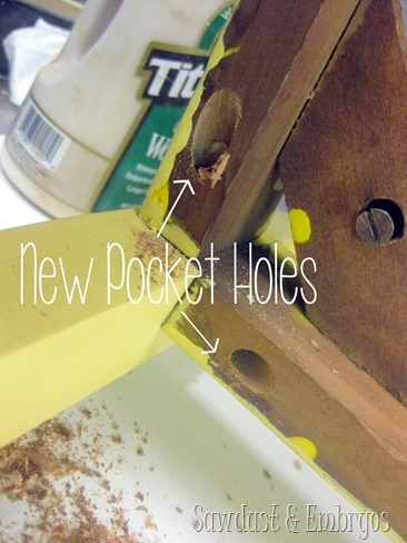Reinforcing wobbly dining chairs {Sawdust and Embryos}