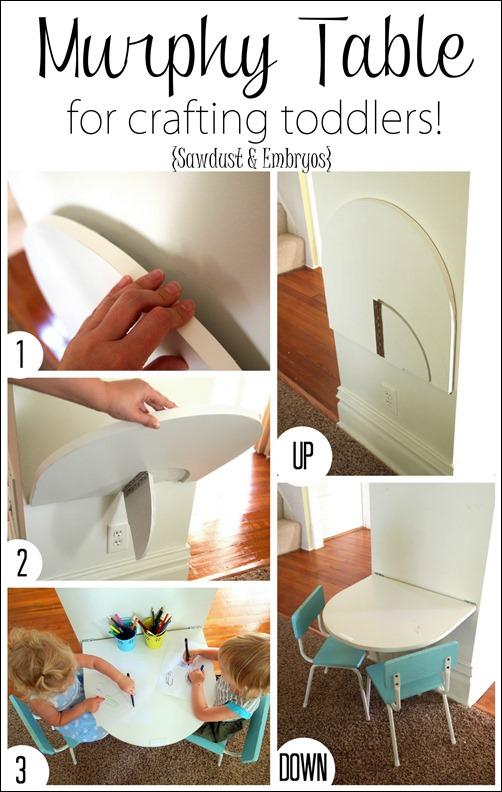 Simple instructions for building a small table that folds down from the wall for crafting toddlers, and folds back up out of the way when not in use! {Sawdust and Embryos}