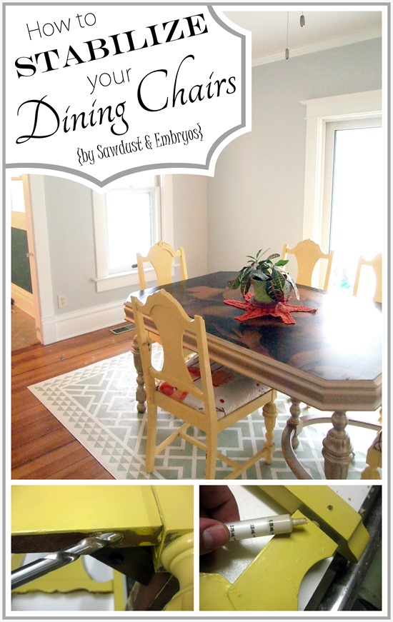 Simple methods for stabilizing and reinforcing those wobbly dining chairs! {Sawdust and Embryos}
