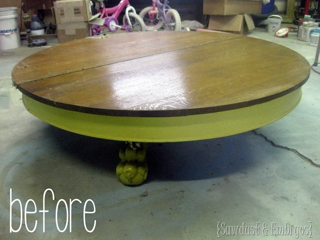 Antique claw table- before