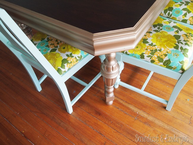 Mint Dining Chairs with Vintage Fabric {Sawdust and Embryos}
