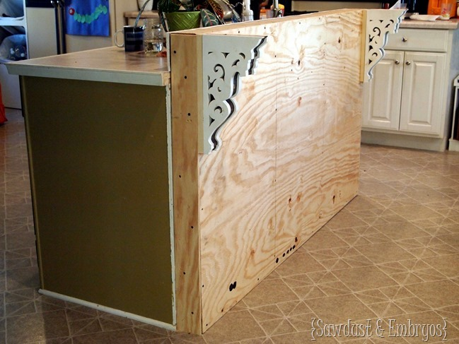Adding a breakfast bar to an existing kitchen island! {Sawdust and Embryos}