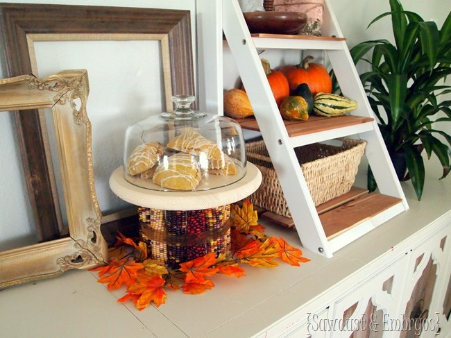 Decorating for 'Harvest' ...DIY Indian Corn Cake Stand {Sawdust and Embryos} #harvest #fall #autumn #thanksgiving